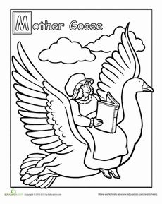 Mother Goose Coloring Page Worksheet