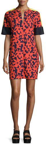 Jil Sander Navy Short-Sleeve Printed Shift Dress, Tangerine/Navy