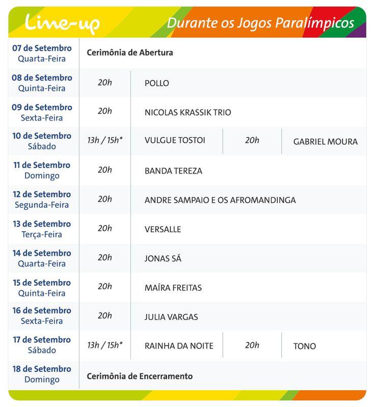 Line up Bulevard Olímpico durante as Paralimpíadas. Veja mais em: http://aosviajantes.com.br/tudo-sobre-olimpiadas-no-rio/