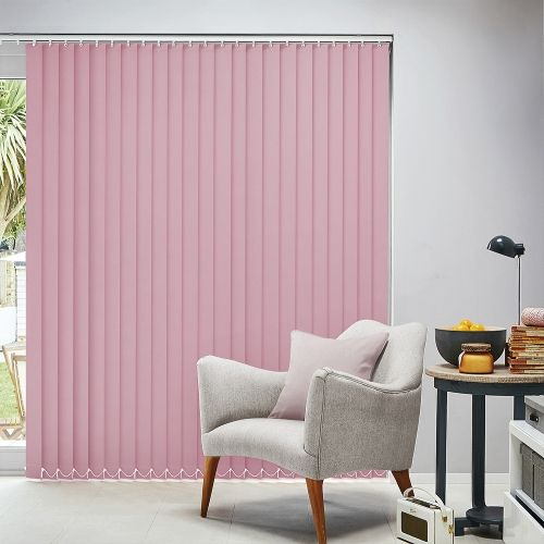Metro Baby Pink is a plain blackout vertical blind material in a shade of pale pink available in an 89mm louvre width