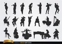 Musicians silhouettes set Free Vector