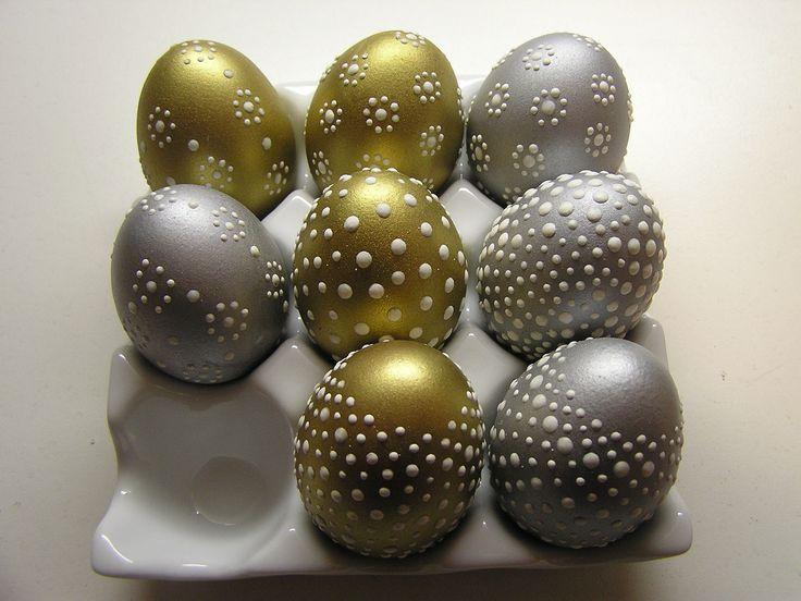 kraslice zlaté a stříbrné