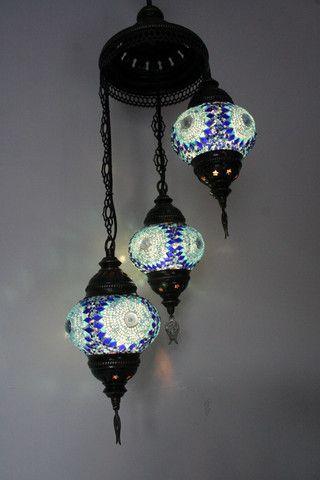 Blue Eye Turkish Mosaic Three Piece Pendant Chandelier