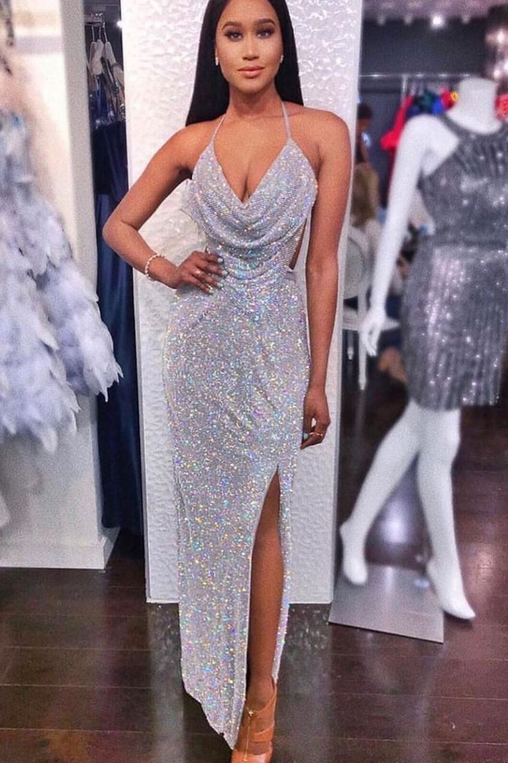 Open-Cowl-Back Long Formal Sequin Party Dress   Sequin