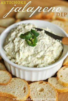 Artichoke Jalapeno Dip - 14oz can artichoke hearts (drained), 2 jalapenos (seeded), 1/2 c grated parmesan cheese, 6 oz cream cheese, 1/4 c mayonnaise, 1/2 t salt, 1/4 t pepper, 1/2 t garlic salt