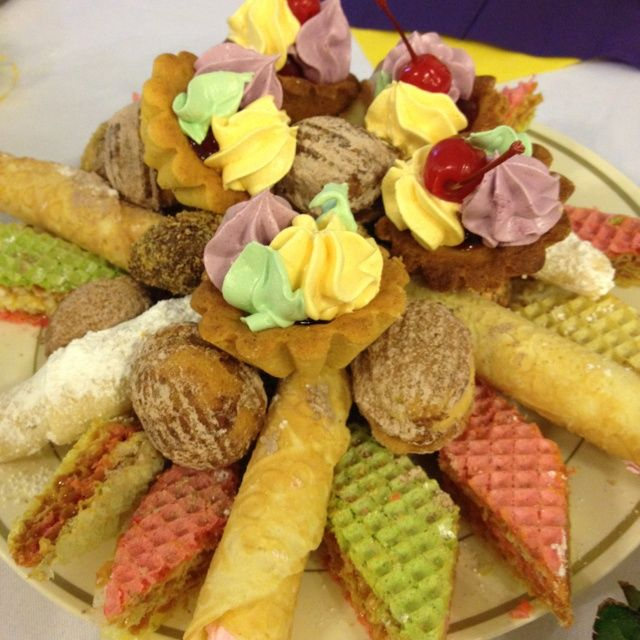 Russian  desserts -Waffle Cake with Dulce de Leche,nuts,tubes,& Tartlets