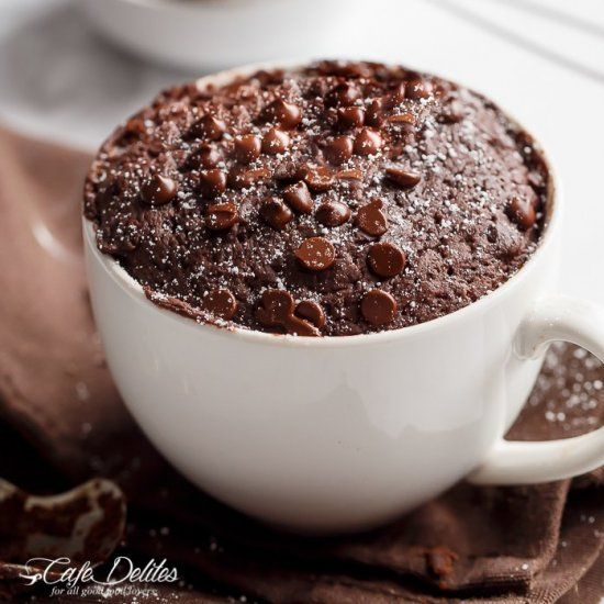 138 Calorie Low fat Chocolate Mug Cake? YES! One short minute to decadence!