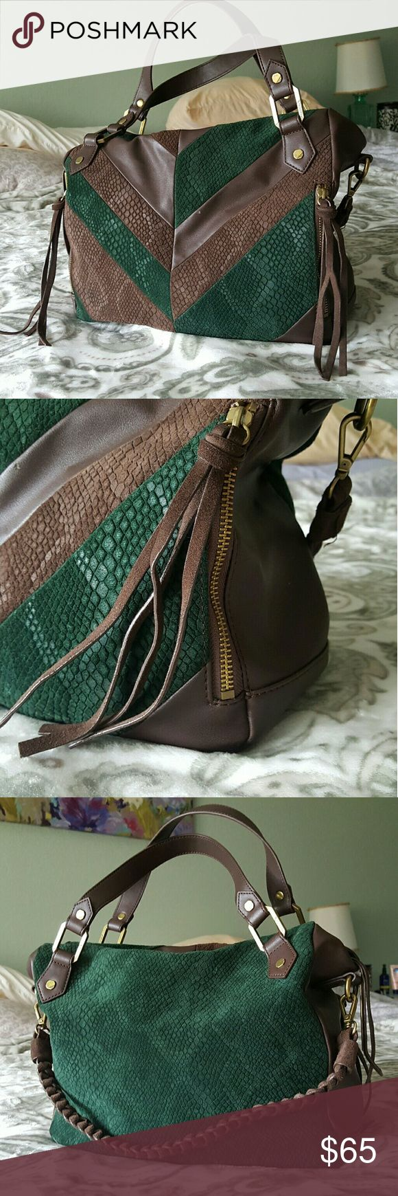 Ella Moss Handbag Dark green and brown suede/leather Ella Moss bag. Used once. retail $120 Ella Moss Bags Shoulder Bags