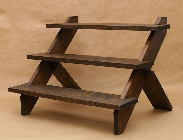 3 tier display shelf display shelves store display collapsible riser wooden