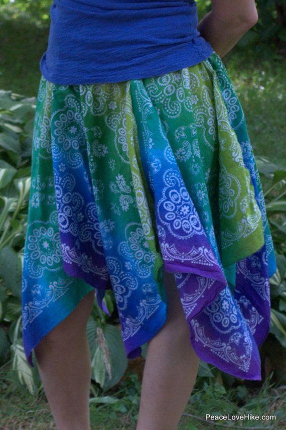 Bandana Skirt Fun & Flirty Handkerchief Hem by PeaceLoveHike, $32.00
