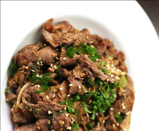 """Hmmmm! One of my favorite dishes of all time - reciepe for Korean barbequed beef called """"bulgogi"""".     Reciepe:  http://savorysweetlife.com/2009/07/marinade-this-bulgogi-recipe-korean-barbequed-beef/"""