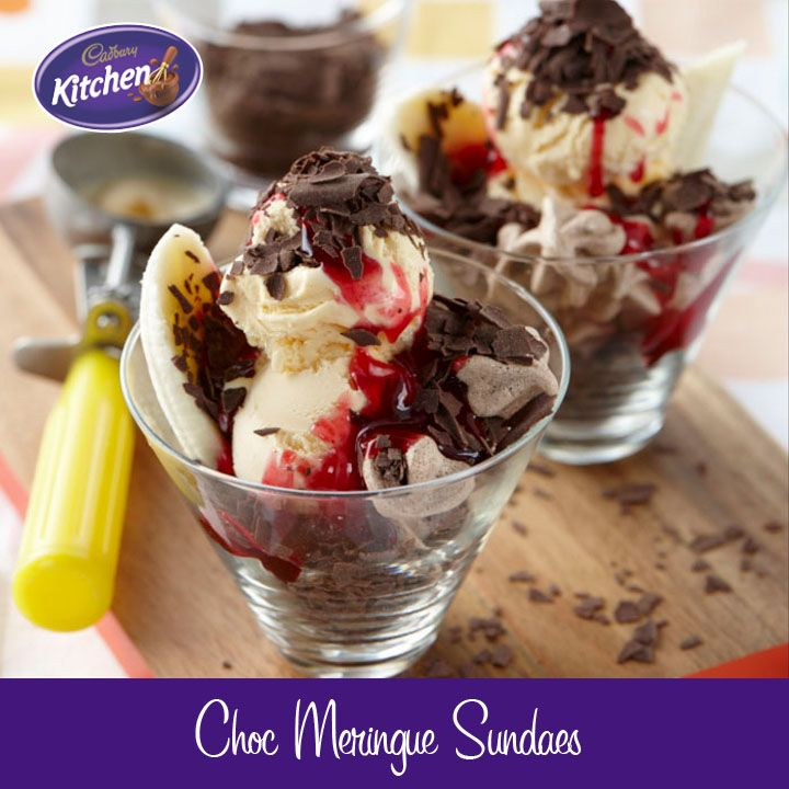 Choc #meringue #sundaes with ice cream and #Cadbury Flake #Sprinkles layered in a glass. It doesn't get much better than this.  For more of our CADBURY Sprinkles Recipes visit https://www.cadburykitchen.com.au/search/results/12b1a4e5934620f702e375aba4f19149/