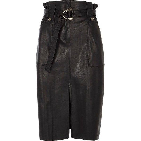 River Island Black faux leather paperbag pencil skirt ($90) ❤ liked on Polyvore featuring skirts, black, midi skirts, women, fake leather skirt, calf length pencil skirts, tall skirts and mid calf pencil skirts