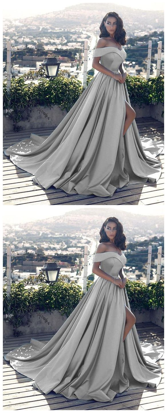 Sexy leg slit long silver gray prom dresses v neck off the shoulder