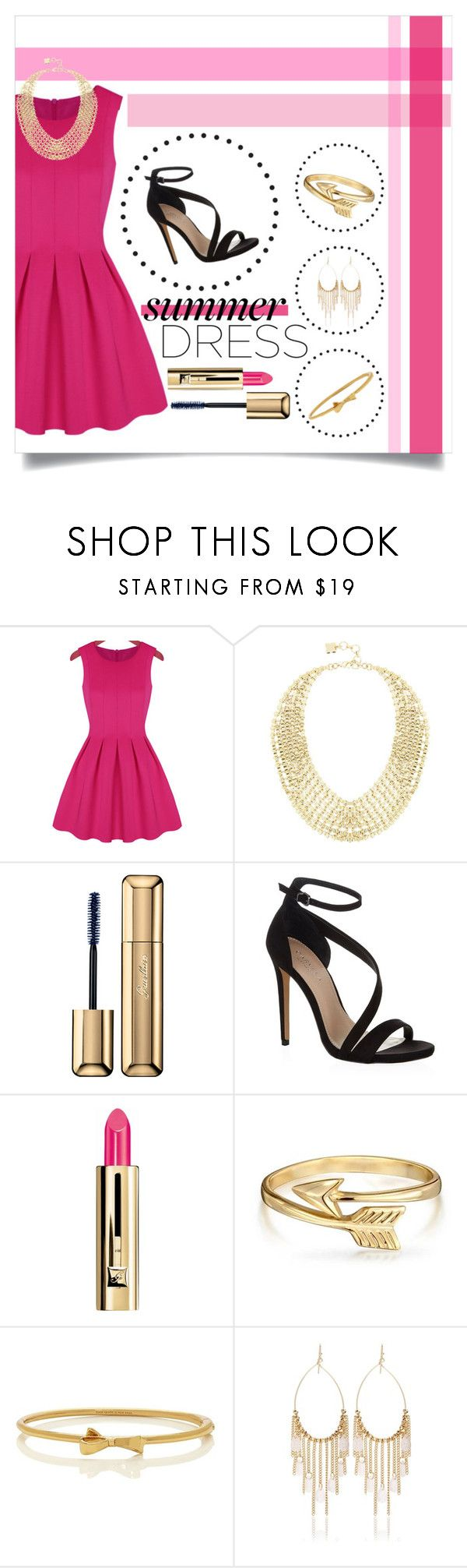 """""""Summer Dress"""" by mormon-girl ❤ liked on Polyvore featuring BCBGMAXAZRIA, Guerlain, Carvela Kurt Geiger, Bling Jewelry, Kate Spade, White House Black Market, contest, Pink, Heels and summerdress"""