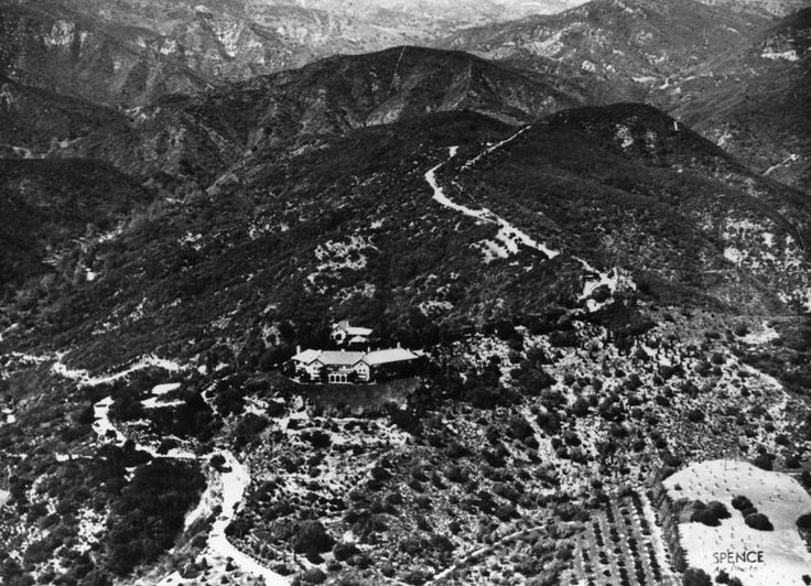 THE WESTSIDE | BEL-AIR:  (1921)^ - An aerial view of the Bel Air district of Los Angeles. Shown are the Danziger, Bell and Chester Kent estates.	On the undeveloped hillsides of original Bel Air in 1922, Alphonzo Bell built water and sewage pipes, installed underground electric and telephone lines, and planted thousands of trees along winding streets traversing the hilly terrain.