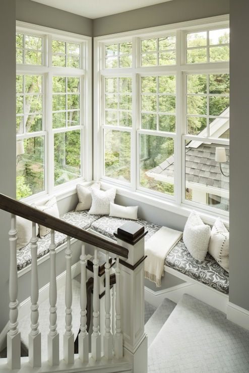 Martha O'Hara Interiors - entrances/foyers - gray walls, gray wall color, gray carpet, gray stairway carpet, white spindles, stained hand ra...