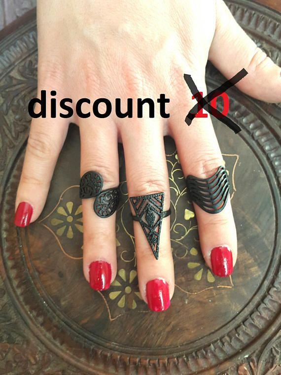 Black Statement Ring Women Black Ring Midi Rings Boho Ring