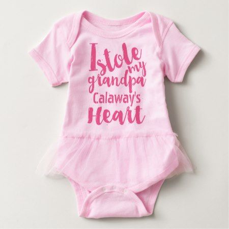 Personalized Pink Tutu Stole My Grandpas Heart Baby Bodysuit - tap to personalize and get yours