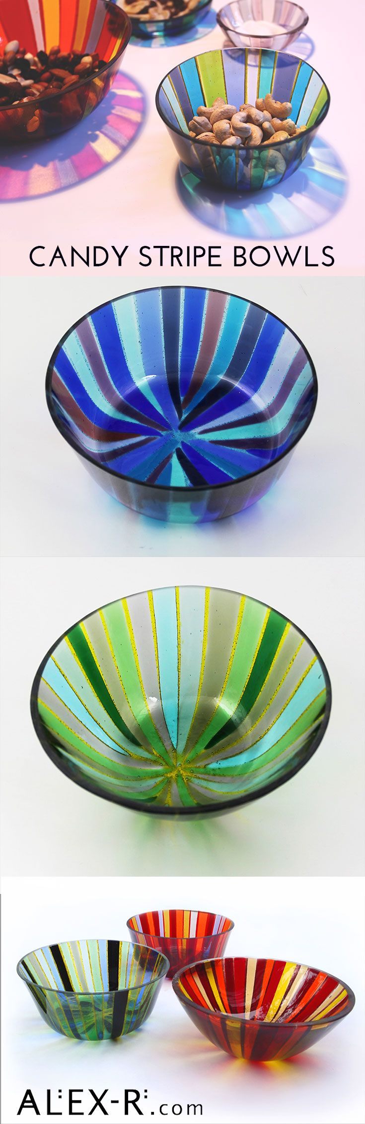 The Candy Stripe bowls make a striking impression with their bright colours and organic shapes. #stripes #contemporary www.alex-r.com
