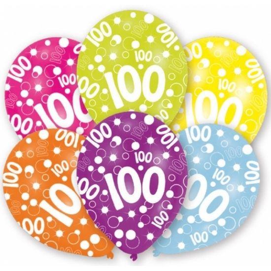 Verschillende gekleurde ballonnen, 100 jaar voor een eeuwfeest. U kunt de ballonnen vullen met helium of lucht. Op te blazen formaat: 27,5 cm. Inhoud per zakje: 6 stuks.
