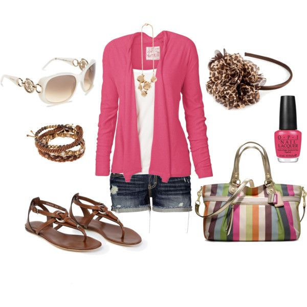 pink: Pink Summer, Summer Beaches, Coach Pur, Coach Bags, Style, Color, Summer Outfits, Pink Cardigans, Headbands