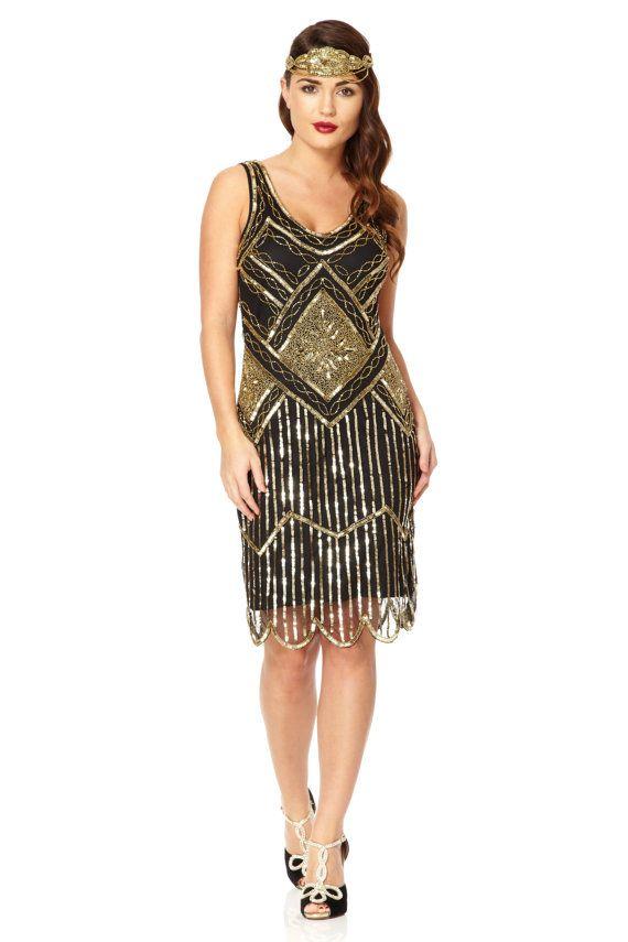 Black Gold Vintage 20s inspired Uk6 Us2 Aus6 to Uk30 Us26 Aus30 Flapper Great Gatsby Beaded Charleston Sequin Wedding Bridesmaid Dress New