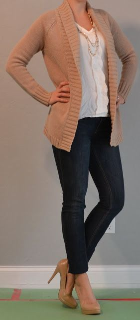 Outfit Posts: outfit post: skinny jeans, heels, comfy tan cardigan
