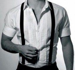 1940s mens fashion. Suspenders and plain dress shirt