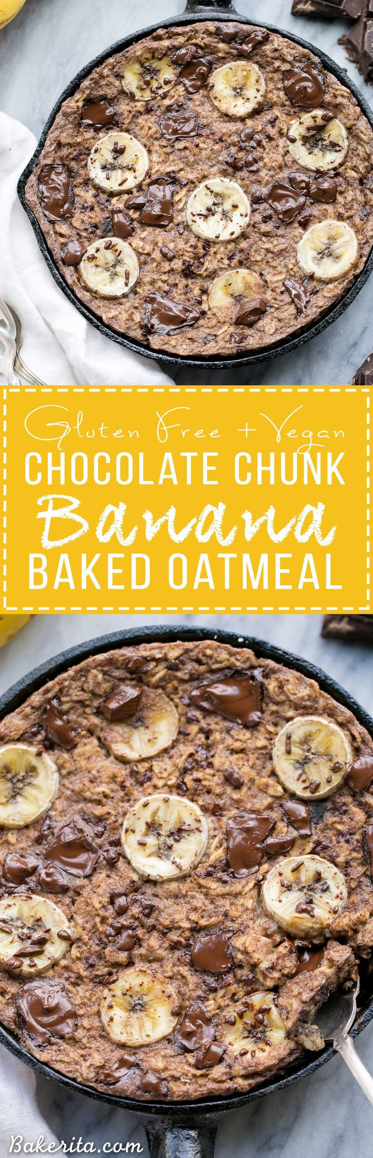 This easy Chocolate Chunk Banana Baked Oatmeal is a delicious twist on classic oatmeal - you'll definitely want to start your day with a serving of this gluten-free + vegan breakfast! This healthier oatmeal has no added sweetener; it's sweetened entirely with ripe banana and chocolate chunks.