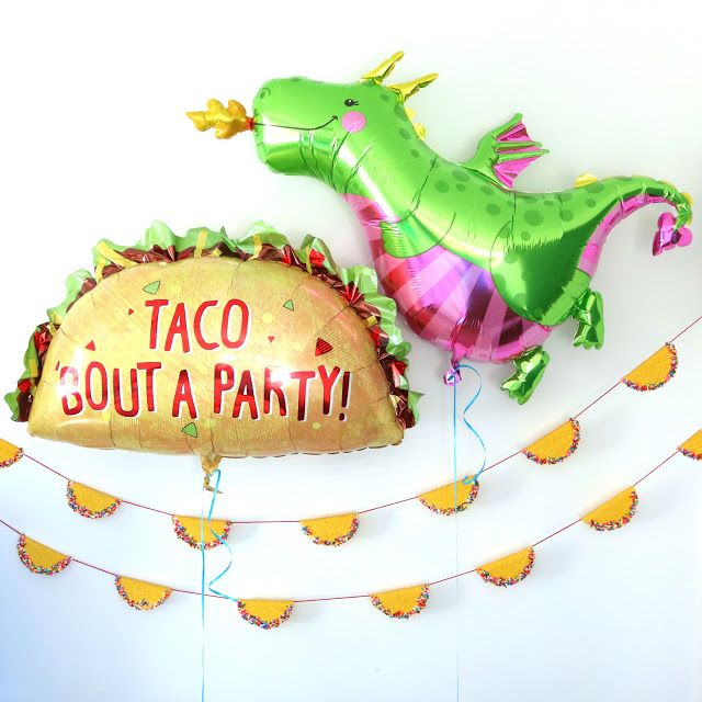 Dragons Love Tacos Birthday Party Decor Balloons Decoration - Baby Toddler Boy Book - Taco Shell Bunting DIY