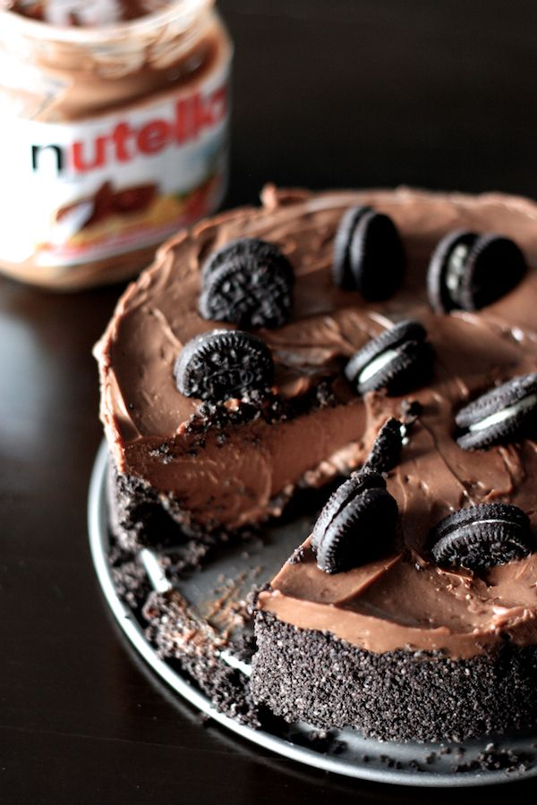 Eggless, No Bake, BUTTERLESS Chocolate Oreo Cheesecake with Nutella #nutella #oreo #cheesecake