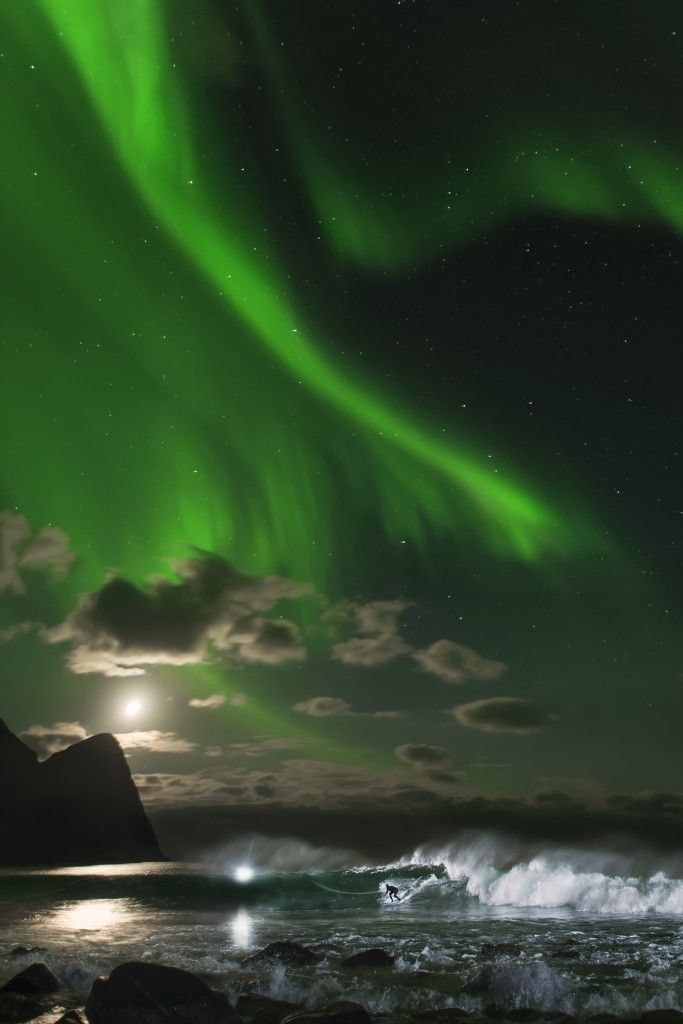 Surfing Nights Under The Northern Lights