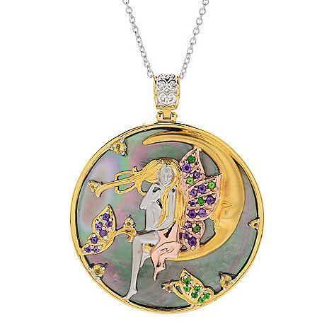 155-269 - Gems en Vogue 44mm Round Mother-of-Pearl & Multi Gemstone Fairy Pendant
