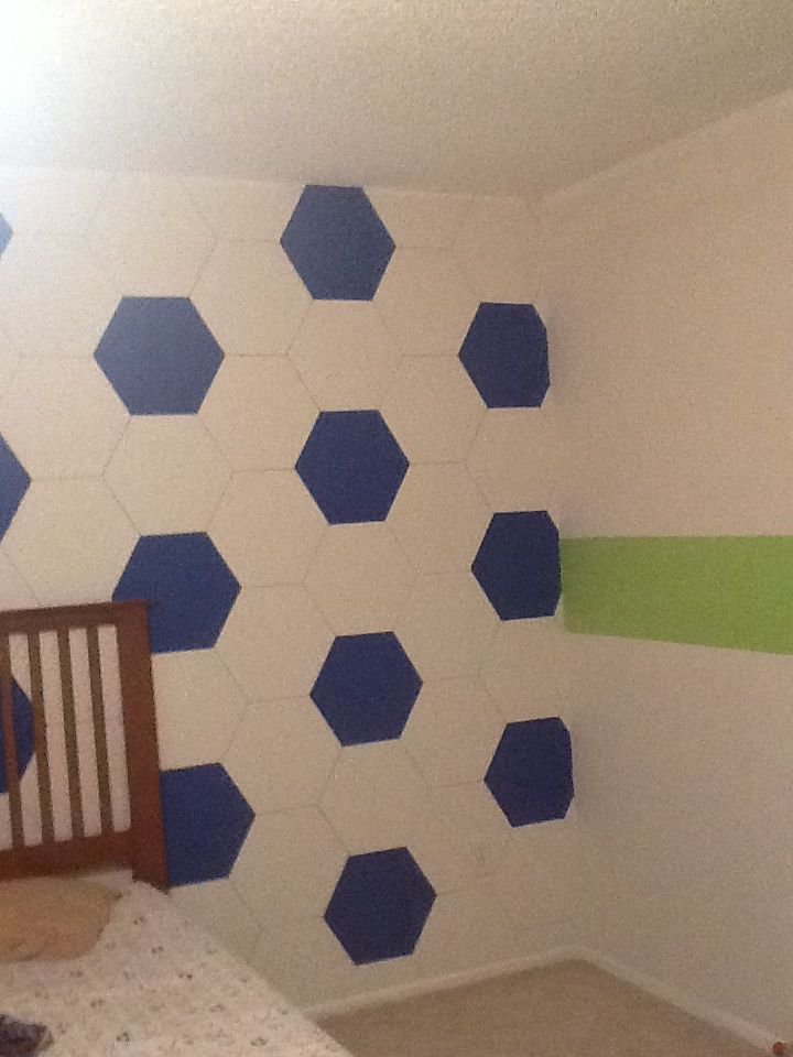 Boys soccer themed bedroom in blue and lime green...so cute!