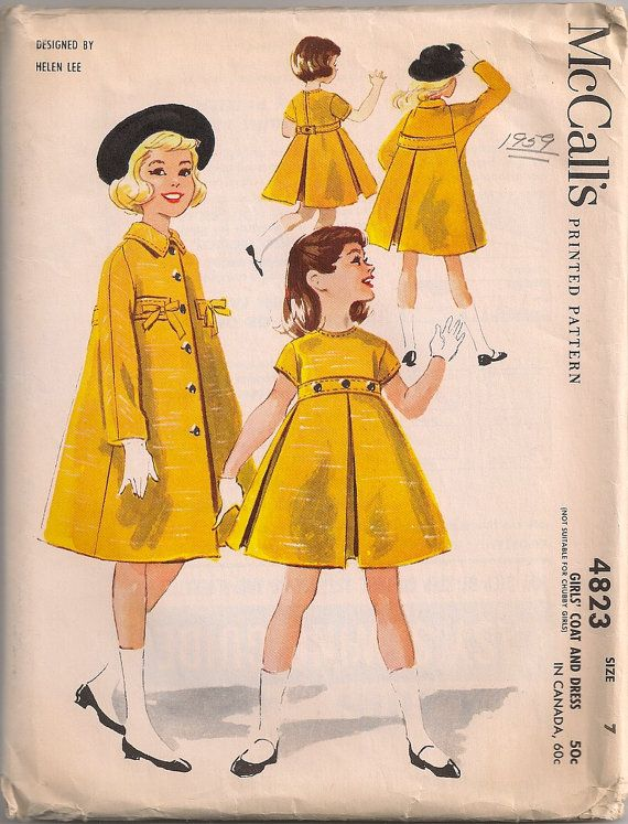 Vintage 1950's Girl's Dress and Coat Pattern Designed by Helen Lee McCall's 4823