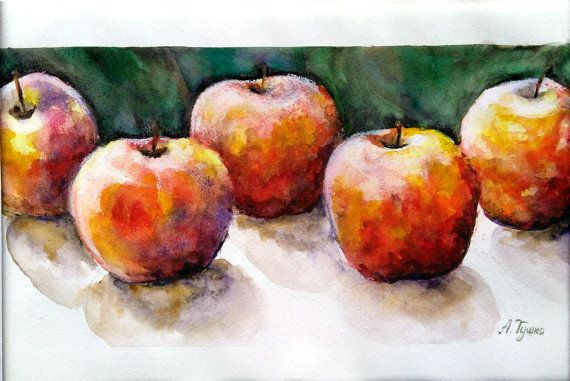 Apples Red apples Original Watercolor Painting by PaintingByAHeart