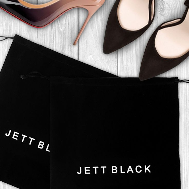 Jett Black Travel Pouches - Perfect for your shoes, small bags and small items that need safe keeping in your suitcase! The Perfect Travel Accessory.