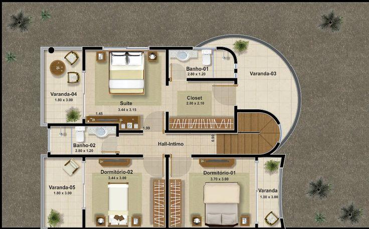 Plano del segundo piso de casa con tres dormitorios