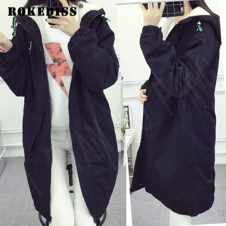 Winter clothing women loose Hooded large size Coat femme long thick cotton padded jacket female long Overcoat female TG250