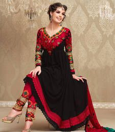 Buy Black and Red embroidered georgette semi stitched salwar with dupatta party-wear-salwar-kameez online