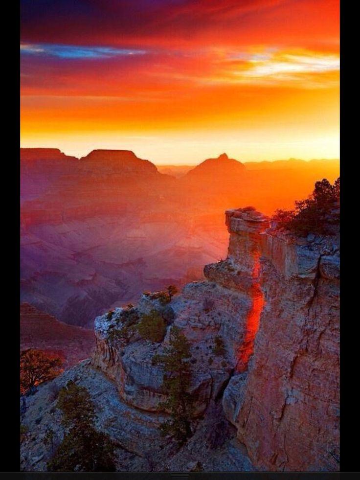 Puesta del sol en el Gran Cañón.
