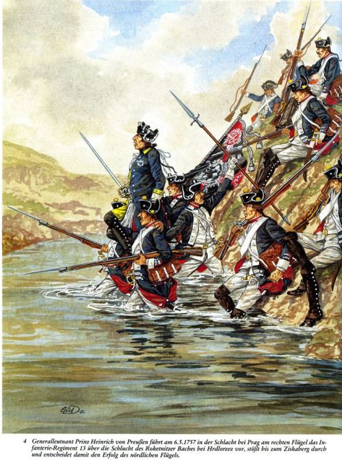 Prussian troops carrying their officer across a stream during the Seven Years War.