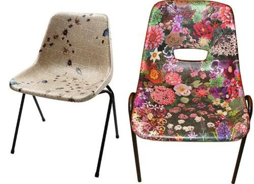 A great way to brighten up an old, worn plastic chair. The Decopatch varnish is very durable, and waterproof, so these would last a long time.
