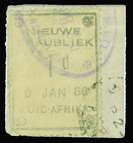 "Neuwe Republiek 	1A (1) 1886 1d black on yellow paper, (9 JAN 86) without Arms, tied by ""Vryheid"" and black transit cancels to piece"