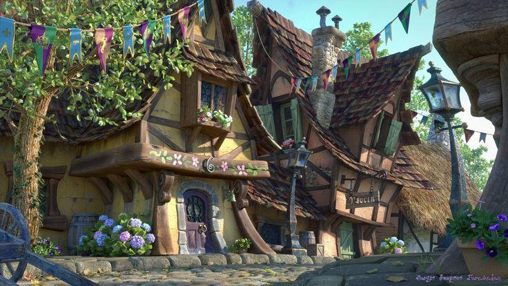 Fairytale Village, Sergio Raposo on ArtStation at https://www.artstation.com/artwork/WdBrX