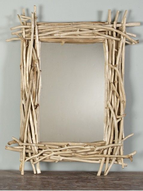 91 best twigs stick ideas images on pinterest painted for Diy mirror frame decoration