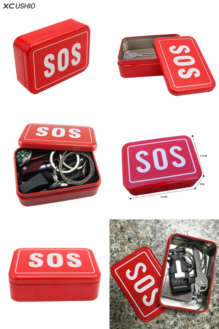 [Visit to Buy] SOS Box Survival Kit Cover Case Emergency Equipment Metal Sign Warning Weft Storage Outdoor Camping Tools #Advertisement