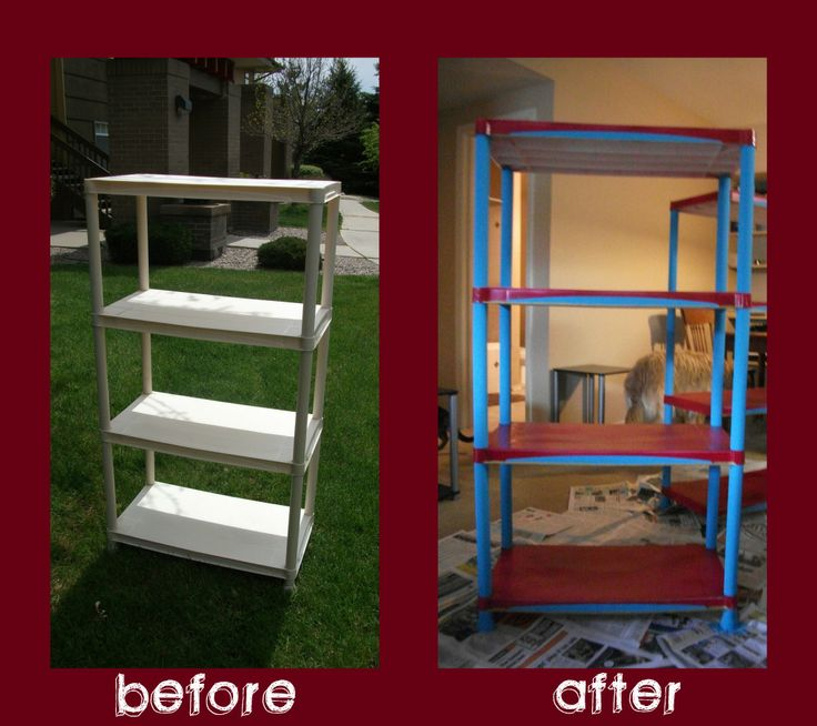 Painted plastic shelving unit- seriously gonna paint my plastic shelf.