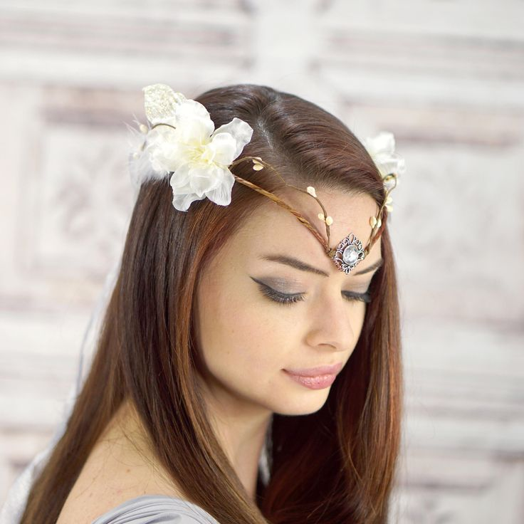 Bridal Diadem, Elven Crown, White and Ivory, Elven Headdress, Fairy Crown, Costume Headpiece, Bridal Headdress, Flower Crown, Woodland by RuthNoreDesigns on Etsy